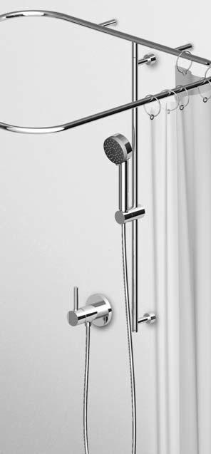 Merrows Bathrooms And Showers Zucchetti Complete Slide Rail With Support And Curtain Adjustable